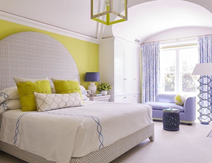 Best Gray Canopy Bed With Citron Green Headboard Contemporary With Pictures