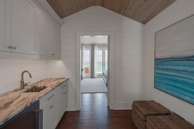 Best Cottage Wet Bar With Blue Cabinets And Blue Floating With Pictures