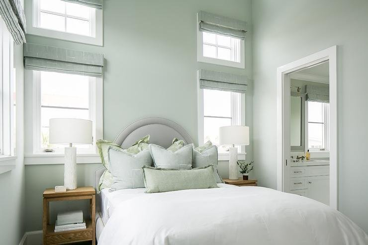 Best Gray Arch Headboard With Blue And Green Shams Cottage With Pictures