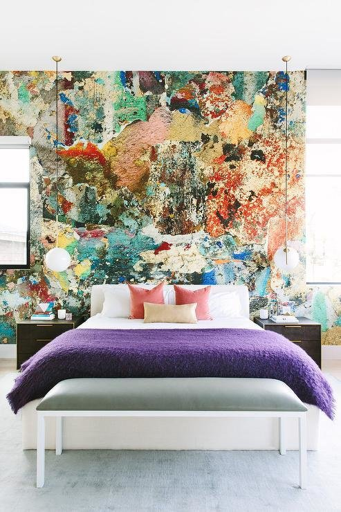 Best Paint Splatter Accent Wall Contemporary Bedroom With Pictures