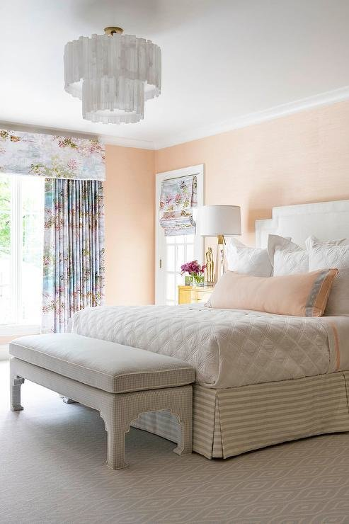 Best Gray Greek Key Headboard Transitional Bedroom With Pictures