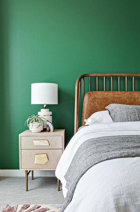 Best Kelly Green Wall With Gray And Gold Nightstand Transitional Bedroom With Pictures