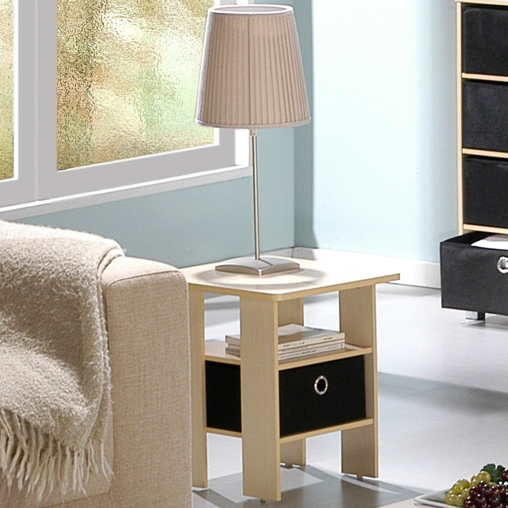 Best Furinno End Table Bedroom Night Stand With Bin Drawer With Pictures