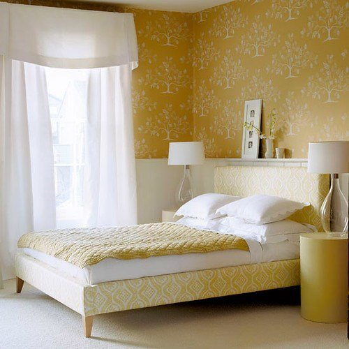 Best Modern Tree Wallpaper Lovely Yellow White Bedroom Col With Pictures