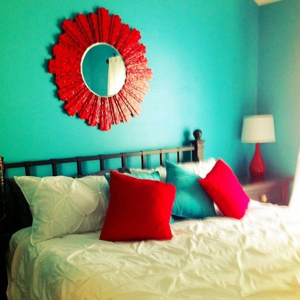 Best I Took A Picture Of Our Teal Turquoise And Red Bedroom T With Pictures
