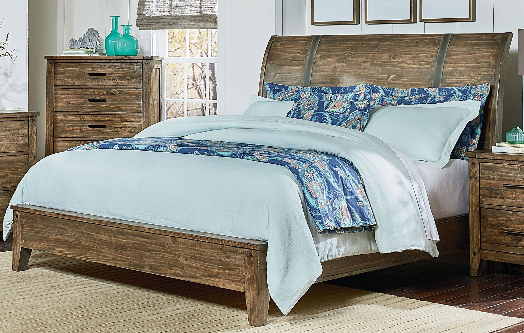 Best Rustic Casual Pine 6 Piece King Bedroom Set Nelson Rc With Pictures
