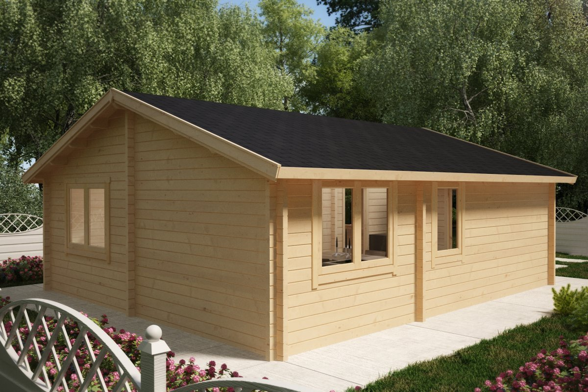 Best Two Bedroom Log Cabin Summer House Ireland 43M2 70Mm 6 With Pictures
