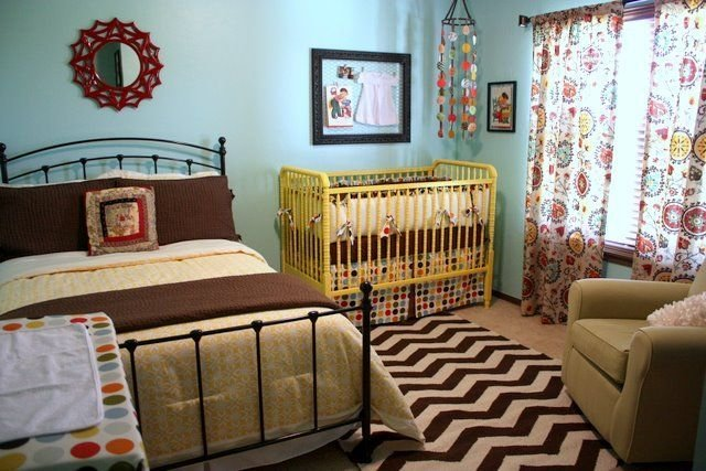 Best Turquoise Shared Bedroom With Queen Bed Yellow Jenny Lind With Pictures