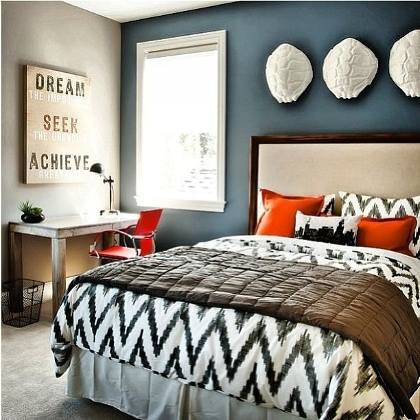 Best Black And White Bedding Blue Accent Wall Bedroom With Pictures