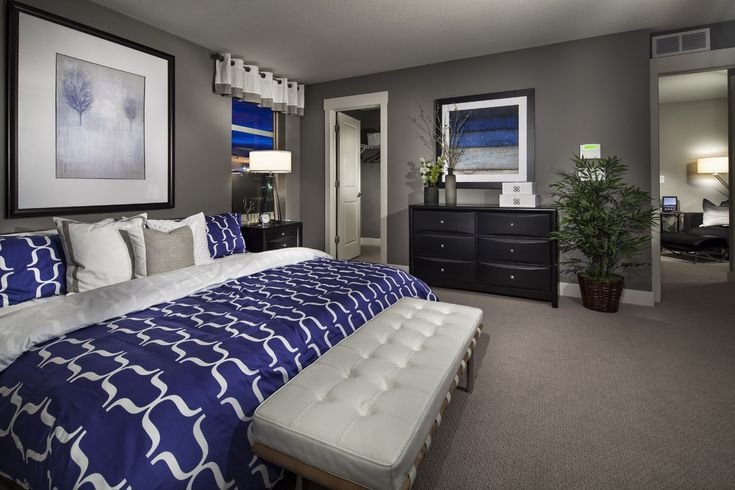 Best Grey White And Royal Blue Master Suite Smokey Blue Instead Of Royal Would Be Great Home With Pictures