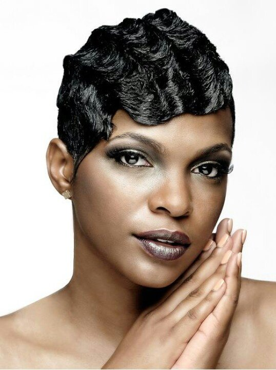 Free Finger Waves Hair Relaxed Weaved Wigs Black African Wallpaper
