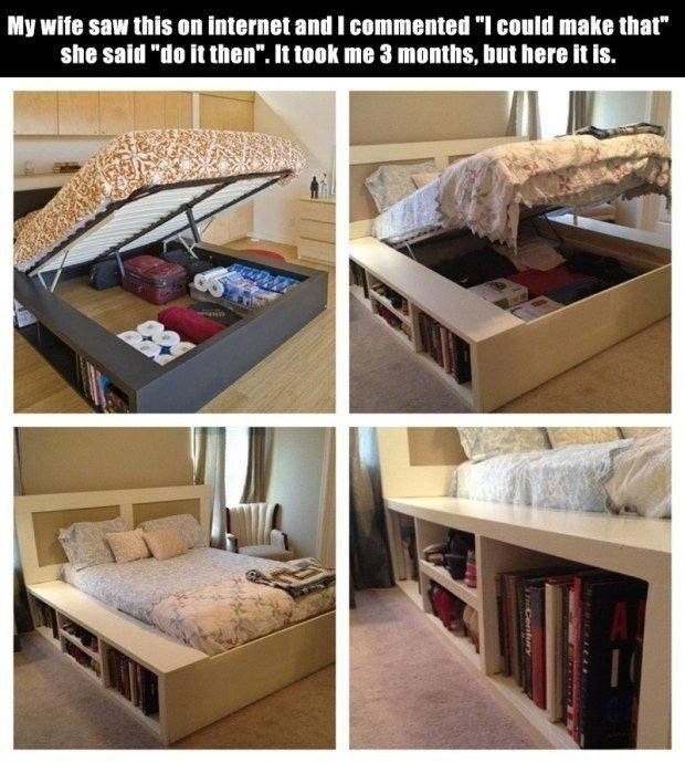 Best 1000 Images About Bedroom Diy Storage Bed Headboard On With Pictures