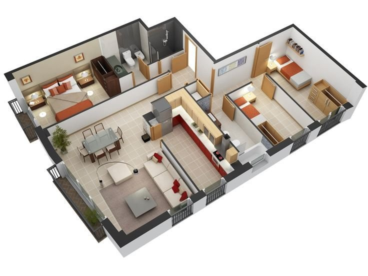 Best 3 Bedroom Design In 3D Small House Floor Plans With Pictures