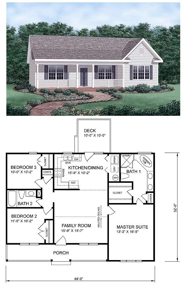 Best Ranch Homeplan 45476 Has 1258 Square Feet Of Living With Pictures