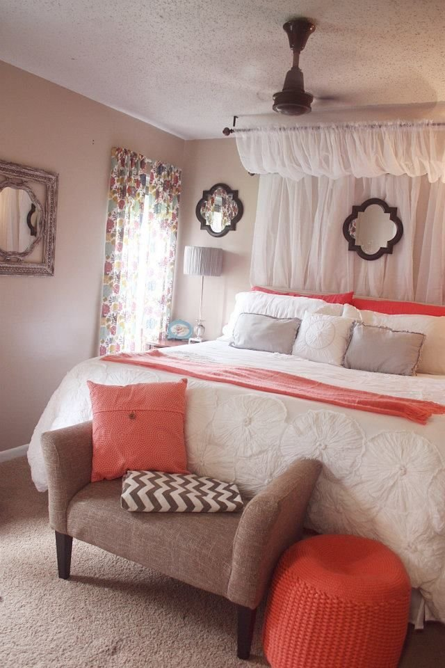 Best Curtain Canopy Coral White Comforter Grey Chevron With Pictures