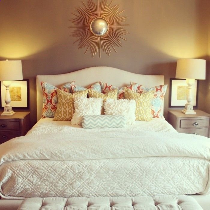 Best Your Layout With White Bedding And Colorful Pillows And An Easy Diy Headboard Home Ideas With Pictures