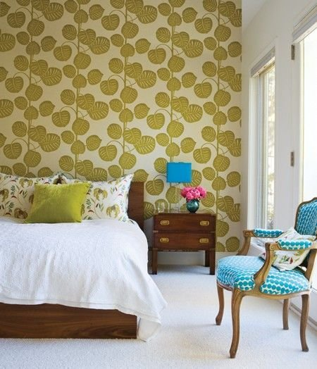 Best Green And Blue Bedroom Design Bold Chartreuse Wallpaper With Pictures