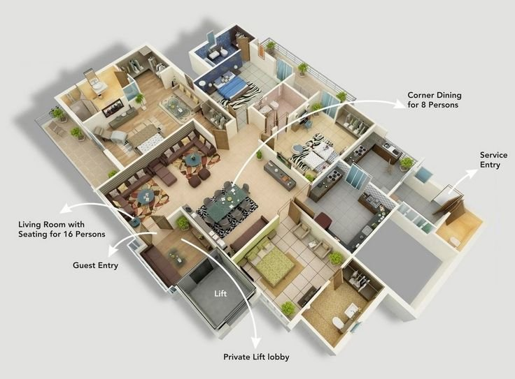 """Best 50 Four """"4"""" Bedroom Apartment House Plans Bedroom With Pictures"""