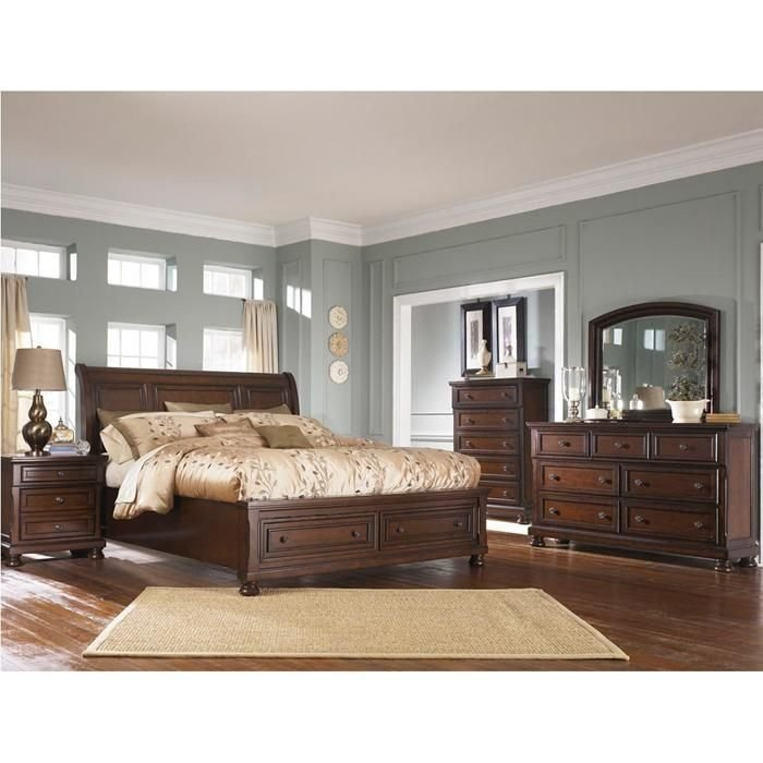 Best Porter 5 Piece King Bedroom Set In Burnished Brown With Pictures