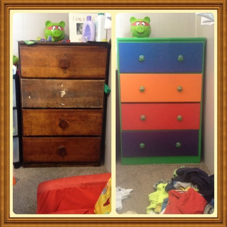 Best Upcycled This Old Dresser Into A Teenage Mutant Ninja Turtles Dresser For My Sons Upcycle With Pictures
