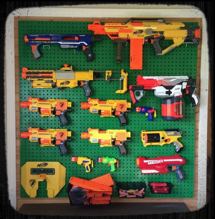 Best Nerf Gun Wall Awesome Way To Display And Store Our Nerf With Pictures