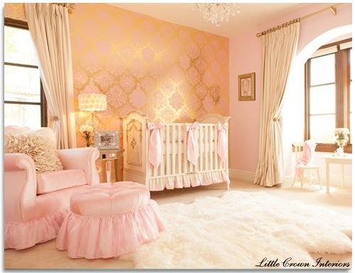 Best Damask Wallpaper For Baby Girls Room Nursery Pink With Pictures