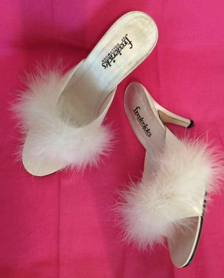 Best Fredericks Of Hollywood Marabou Satin Slippers White Mules With Pictures