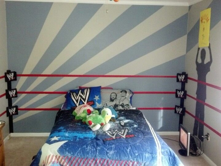 Best Wwe Room Ring And Traced Silhouettes Of Our 7 Year Old With Pictures