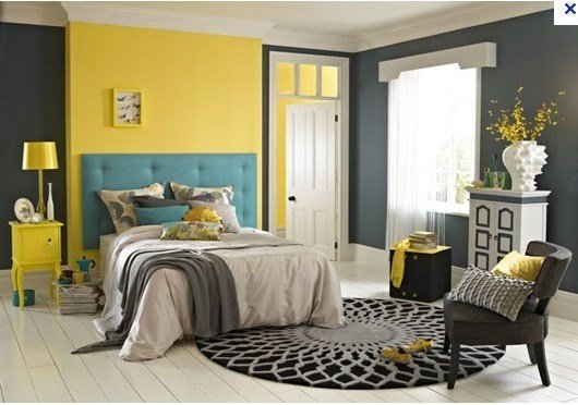Best Unusual Yellow Feature Wall With Grey Teal Bedroom But With Pictures