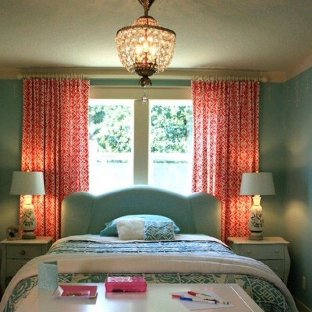 Best Teal And Coral Love The Curtains Possible Bedroom Everything Teal Pinterest Fabrics With Pictures