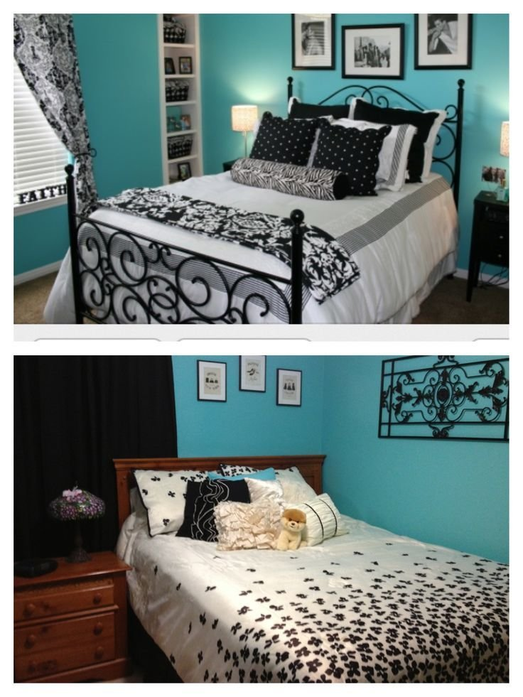 Best Black White And Teal Bedroom For The Home Pinterest With Pictures
