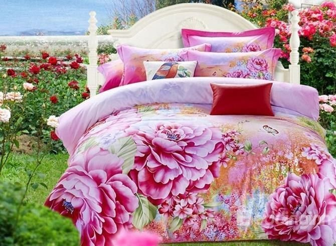 Best Luxury Pink Peony Print Cotton 4 Piece 3D Duvet Cover Sets With Pictures