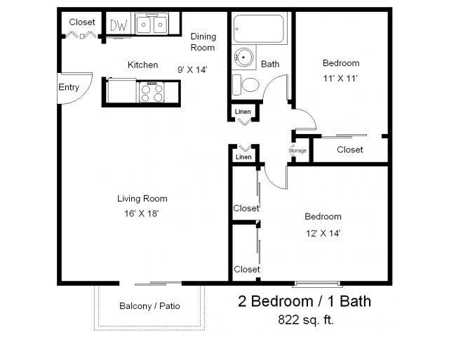 Best One Bedroom One Bath Floor Plans Two Bedrooms One With Pictures Original 1024 x 768