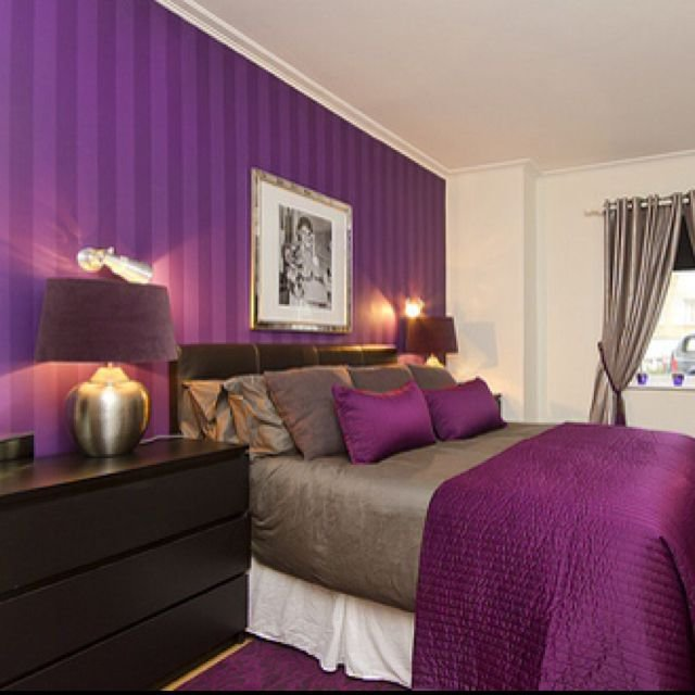 Best I Love The Purple Striped Wall Bedrooms Pinterest The Purple Purple Walls And I Love With Pictures
