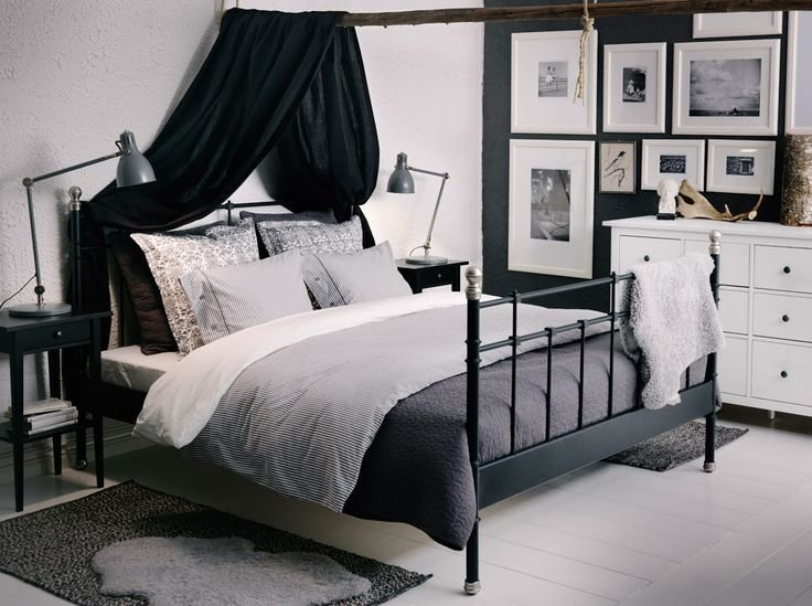 Best Svelvik Black Bed With Hemnes Bedside Tables And Alina With Pictures