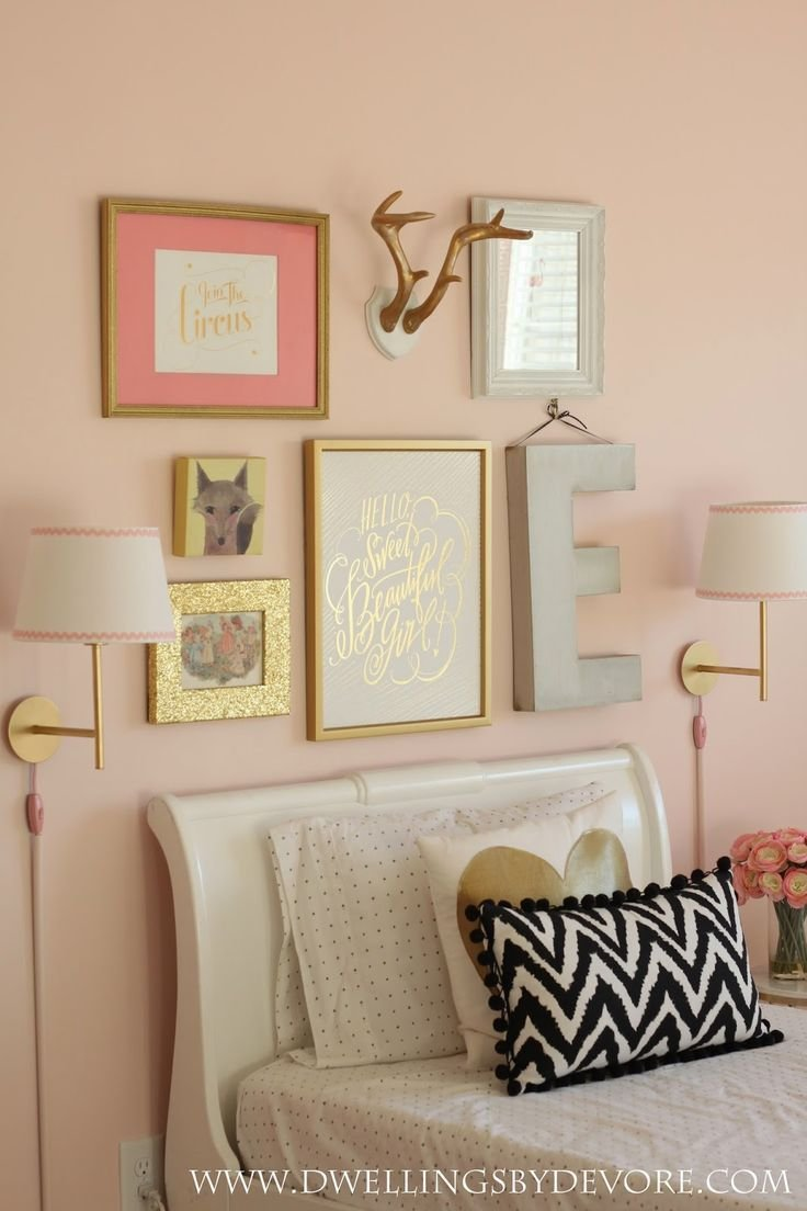 Best Girls Bedroom Gallery Wall Beautiful Pink And Gold Girls With Pictures