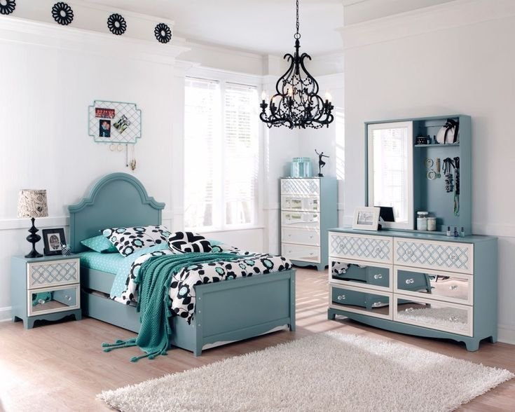 Best Ashley Mivara Tiffany Turquoise Blue Girls Kids French Inspired Bed Bedroom Set Ideas For With Pictures