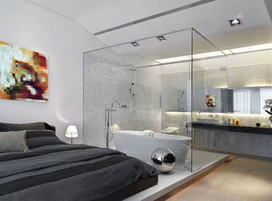 Best A Contemporary Bedroom With An Attached Glass Bathroom And With Pictures