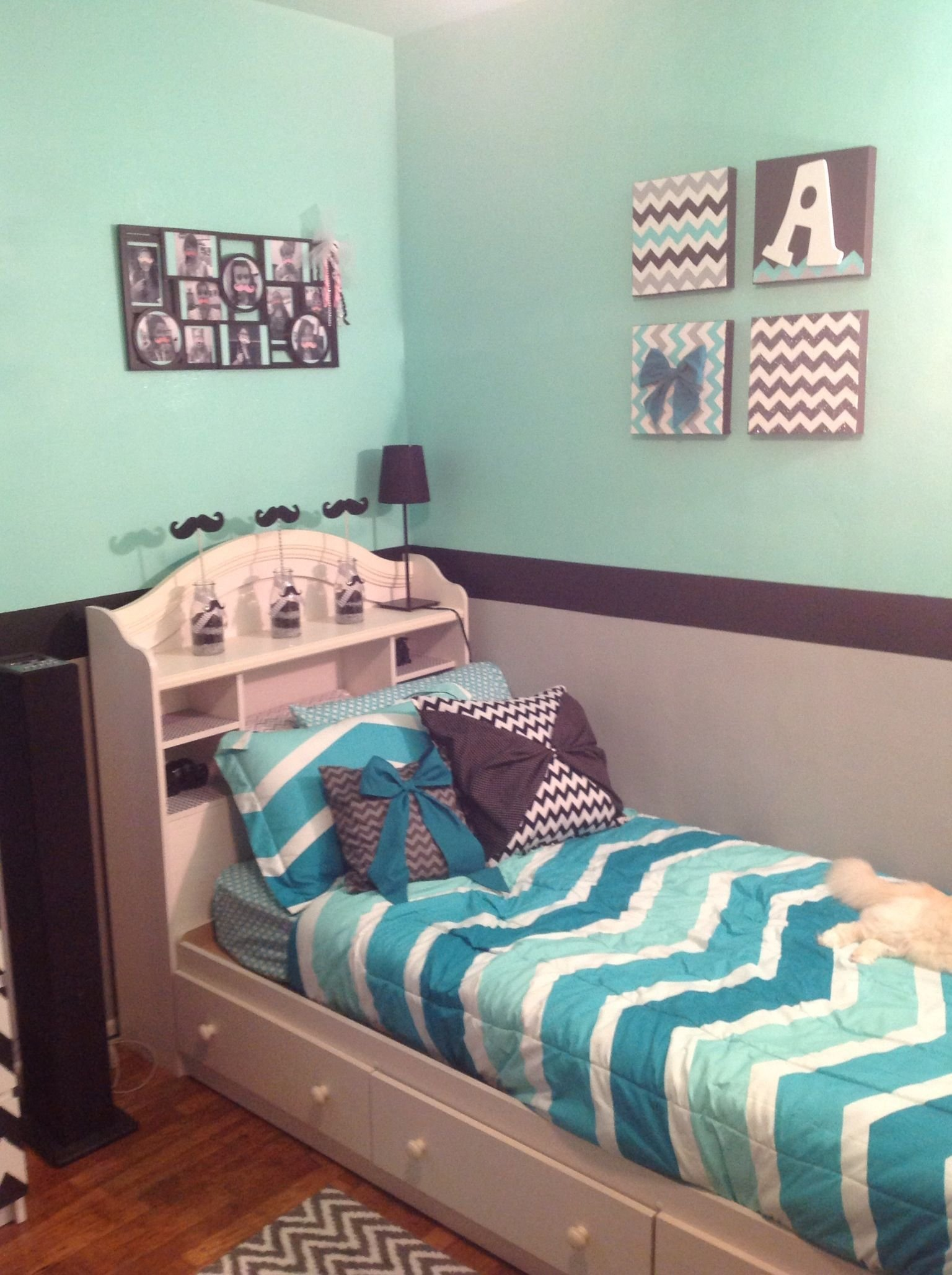 Best Grey Mint Green And Black Chevron Room Cuteness With Pictures