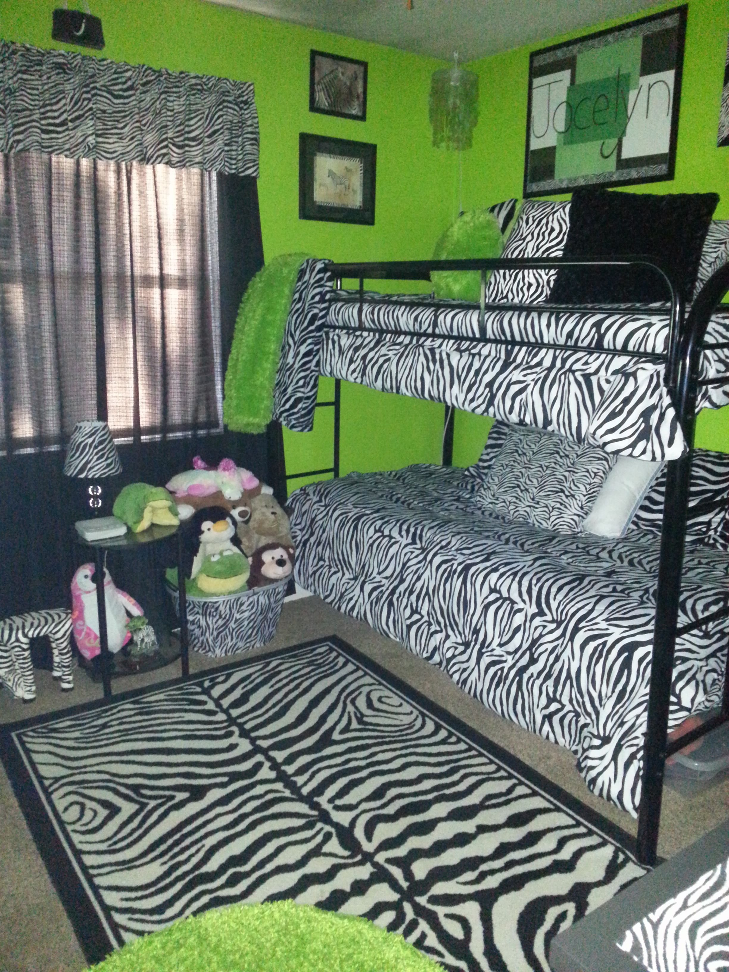 Best Zebra Print And Lime Green Bedroom Kid's Room With Pictures