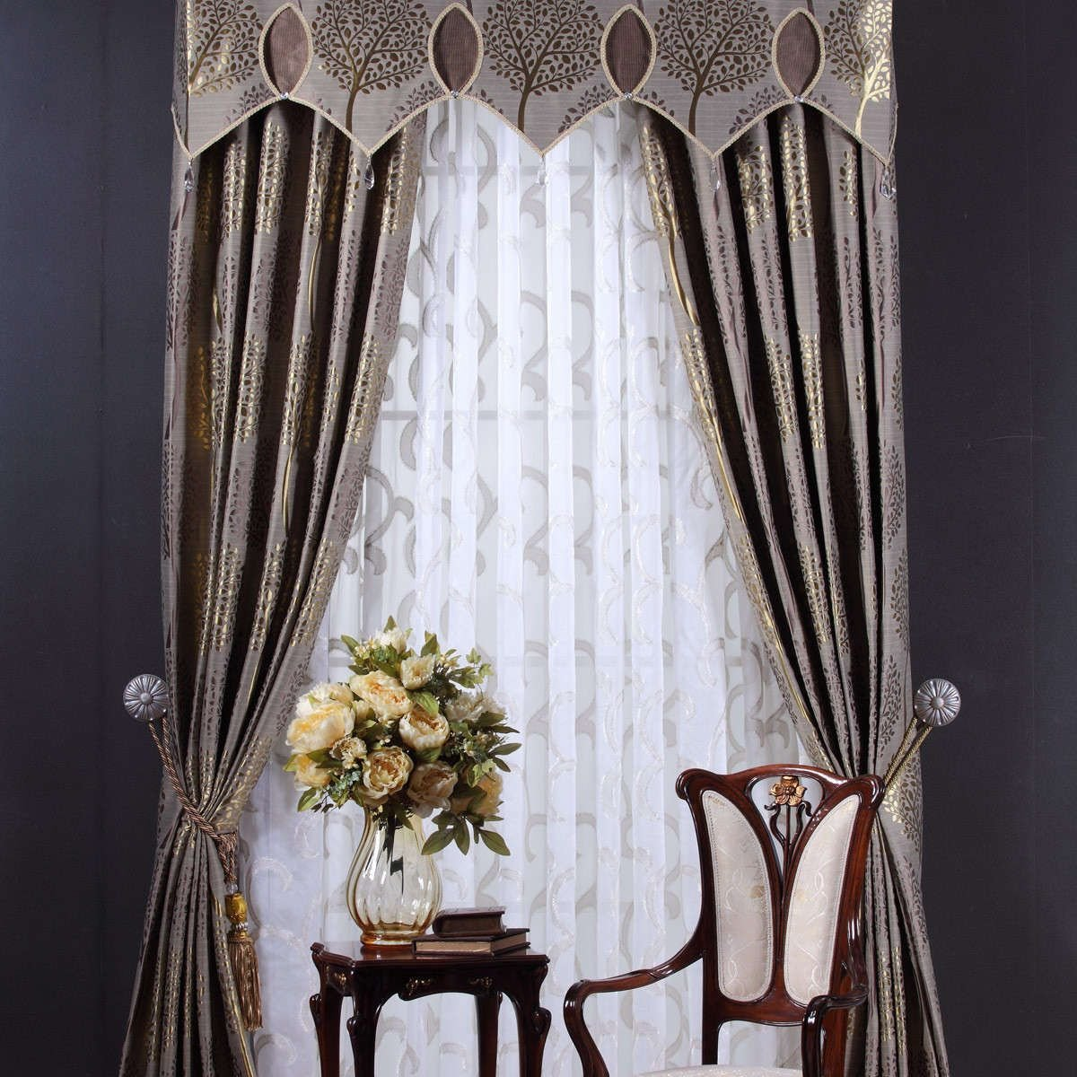 Best Upscale Drapes Mural Pattern Luxury Bedroom Drapery With Pictures