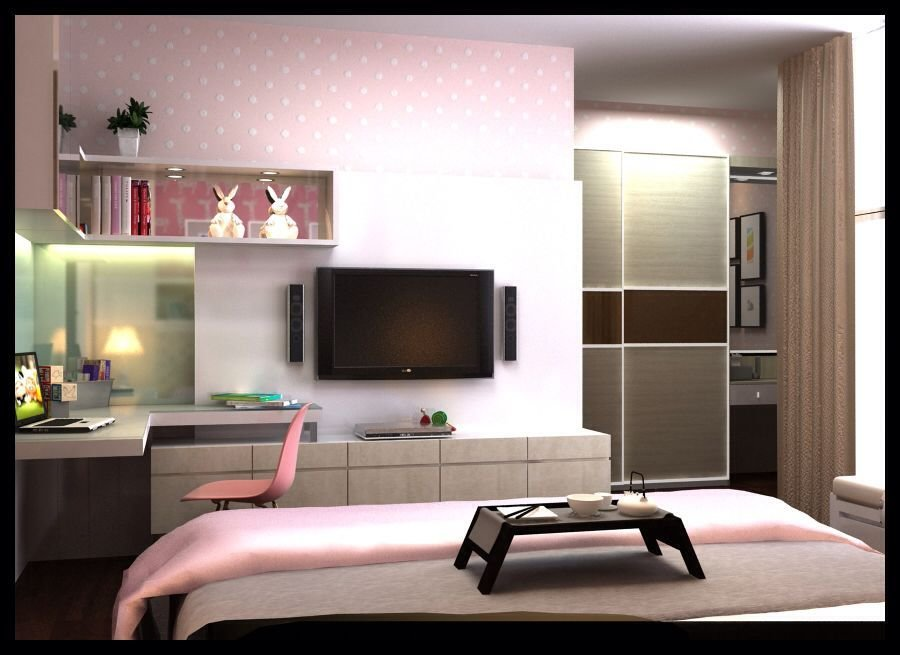 Best Modern Girl Bedroom With Scenery Pink Interior Concept View From Study Desk And Tv Panel With Pictures