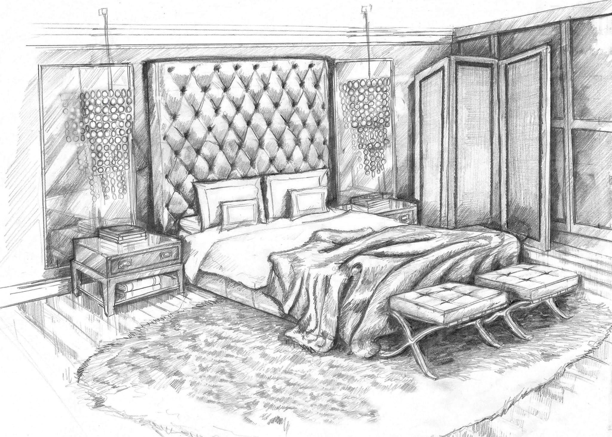 Best Pencil Sketch Art Master Bedroom Concept Design Visual By With Pictures
