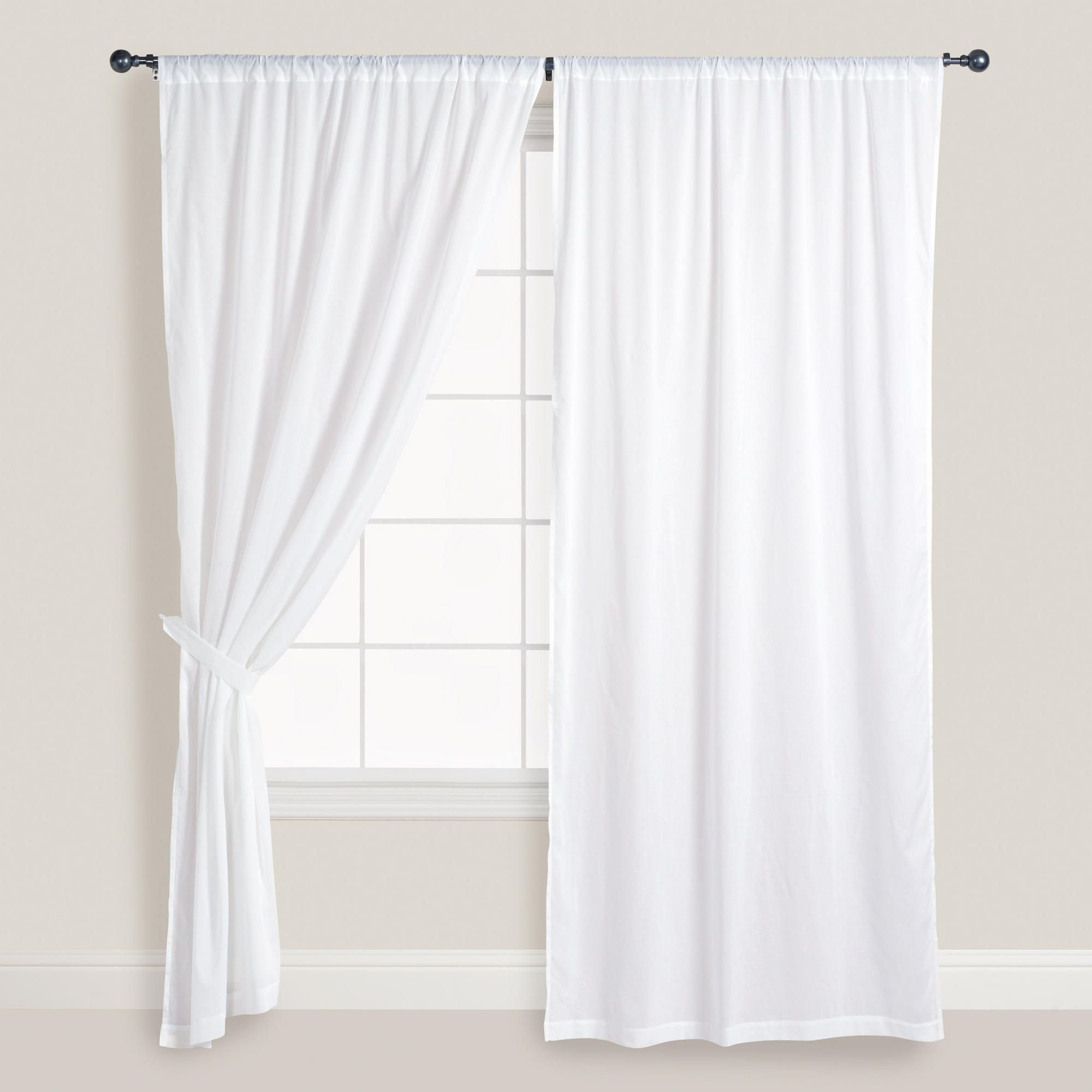 Best White Cotton Voile Curtains Set Of 2 Window Doors And With Pictures