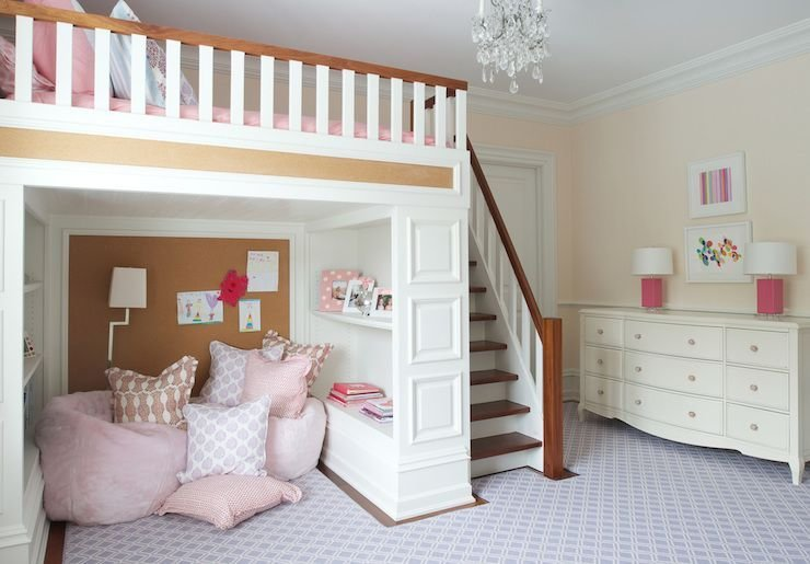 Best Girl S Room With Lofted Bed Nightingale Design Kids With Pictures