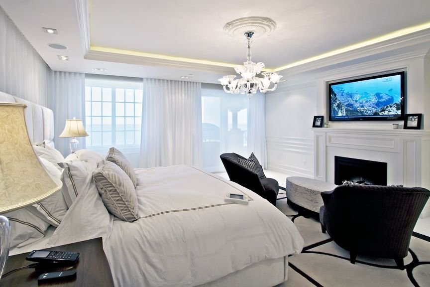 Best Beautiful Bedroom With In Ceiling Speakers And Tv Mounted Over Fireplace Ocean Overlook With Pictures