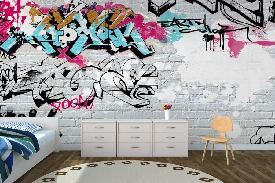 Best Wallpaper Wall Coverings White Wall Graffiti Wallpaper With Pictures