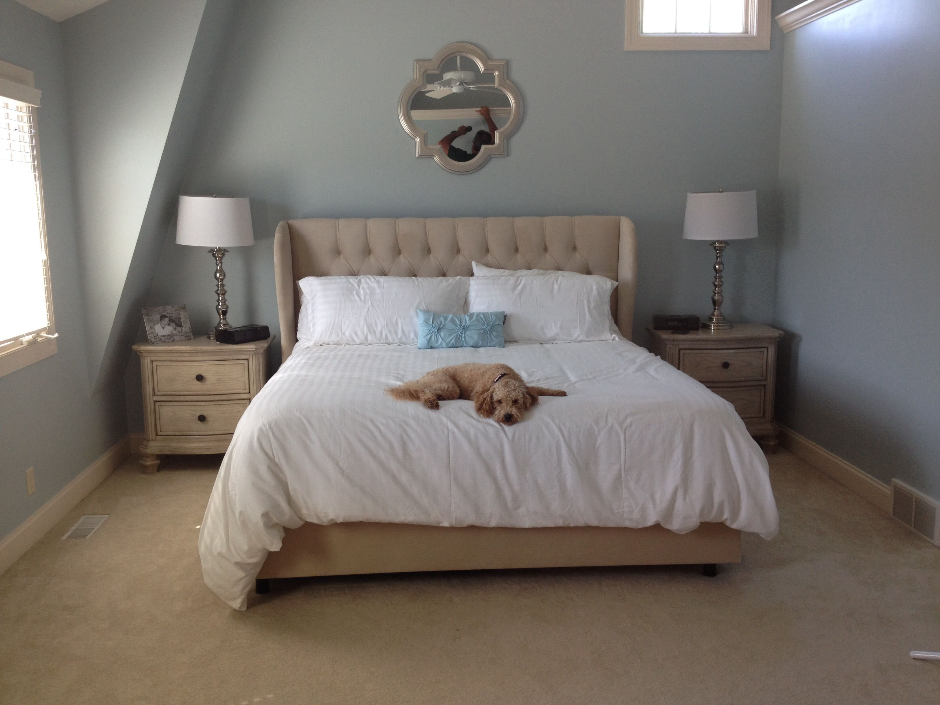 Best Our Master Bedroom Sleepy Blue Sherwin Williams Light With Pictures
