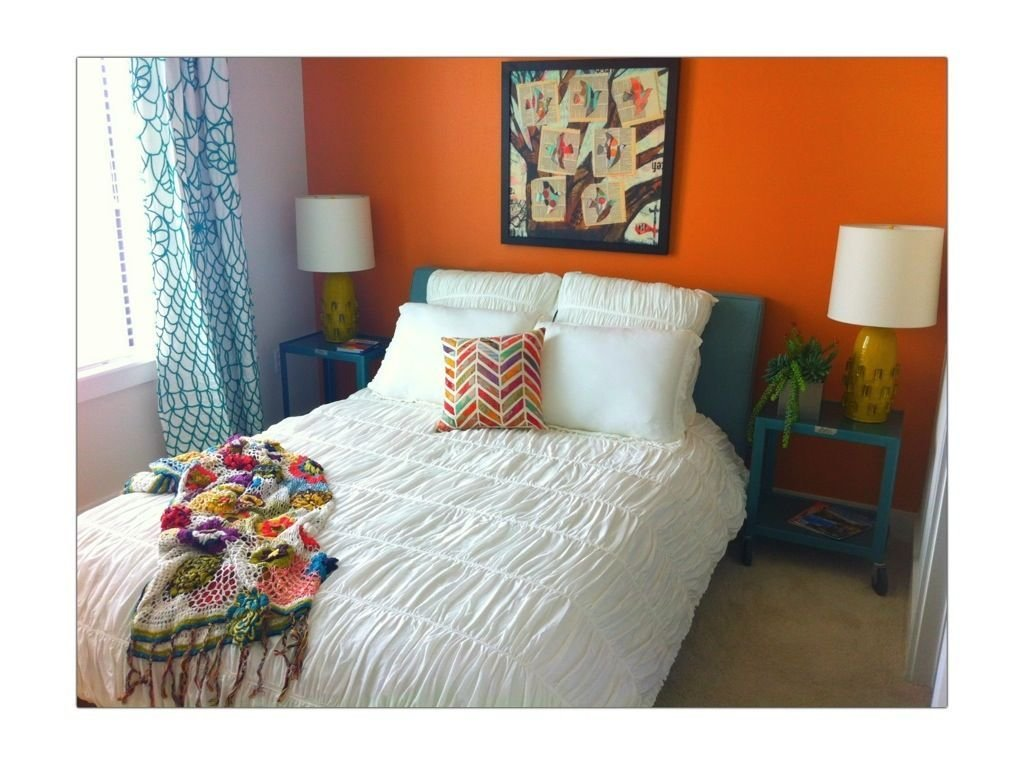 Best Bright Orange Bedroom Wall With Teal Accents Guest With Pictures