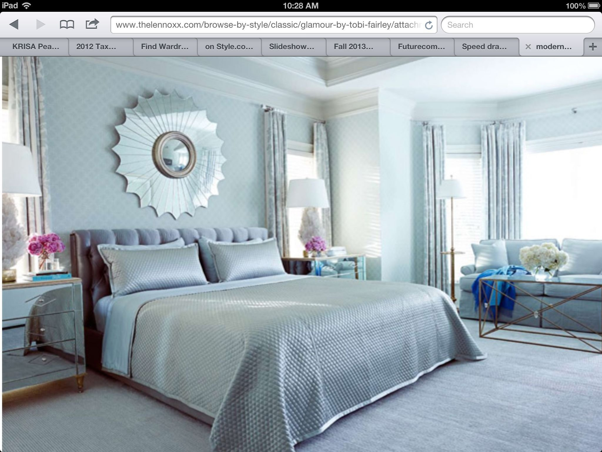 Best Modern Chic Light Blue Silver Bedroom Design Sun Mirror With Pictures